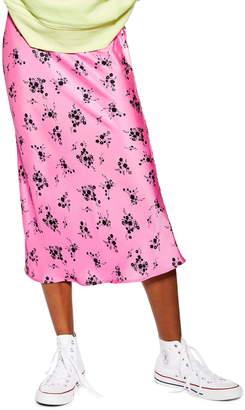 Topshop Satin Floral Bias Midi Skirt