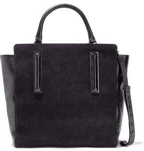 Halston Nubuck And Crinkled Leather Tote