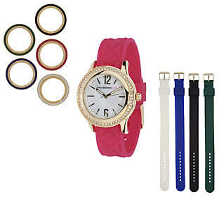 Isaac Mizrahi Live! Interchangeable QuiltedSilicone Watch