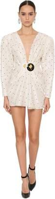 DANIELE CARLOTTA Embellished Silk Taffeta Mini Dress