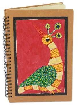 Red Gond Peacock Handmade India Tribal Folk Art Journal