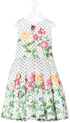 Love Made Love floral polka-dot pleated dress