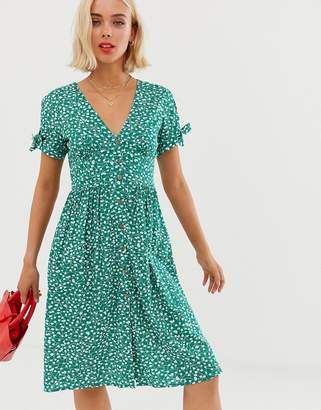 Brave Soul button through midi dress in green floral