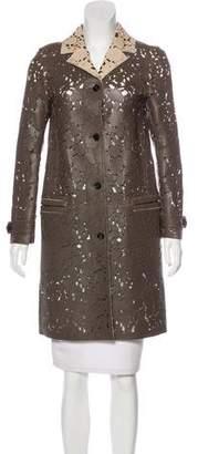 Burberry Leather Knee-Length Coat