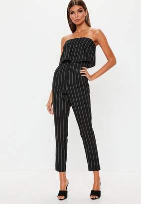 Missguided Petite Black Stripe Bandeau Romper