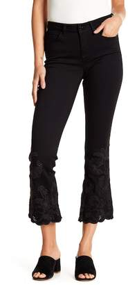 William Rast Cropped Flare Embroidered Hem Jeans