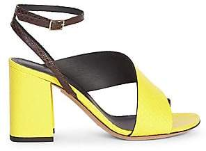Dries Van Noten Women's Asymmetric Ankle Strap Leather Sandals