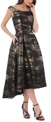 Carmen Marc Valvo Brocade Off the Shoulder Dress