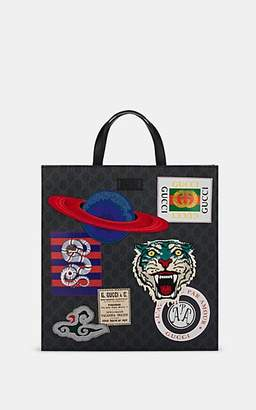 Gucci Men's Appliquéd GG Supreme Canvas Shopper Tote Bag - Black