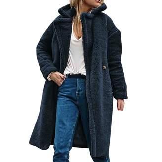 953c19efc1e DongDong New Women s Thick Faux Fur Lapel Parka Long Casual Overcat Peacoat  Winter Solid Coats Jackets