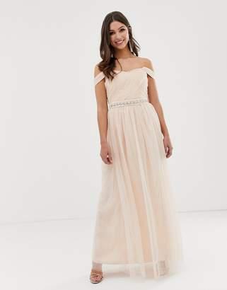 Little Mistress bardot strap split maxi dress