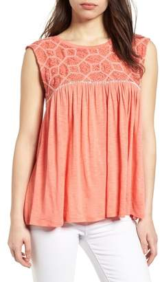 Caslon Mix Lace Knit Tank