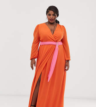 TFNC Plus Plus wrap maxi dress with contrast waistband in orange