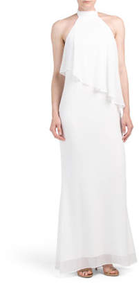 Chiffon Gown With Asymmetrical Popover Top
