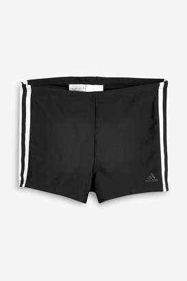 adidas Boys Black 3 Stripe Swim Boxers - Black