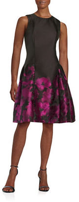 Carmen Marc Valvo Sleeveless Abstract Printed Dress $650 thestylecure.com
