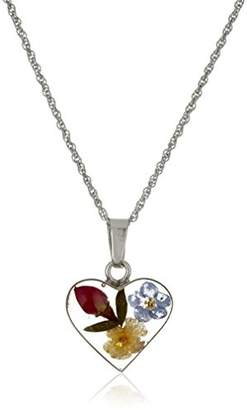 Sterling Silver Heart Pressed Flower Petite Pendant Necklace