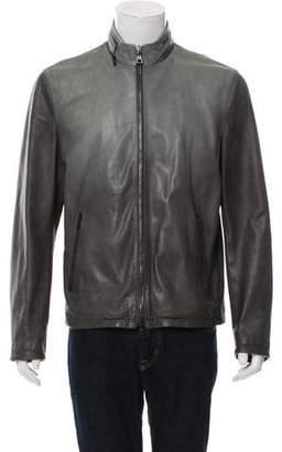 John Varvatos Leather Mock Neck Jacket