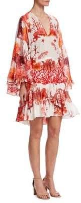 Roberto Cavalli Coral Reef Ruffled Silk Dress