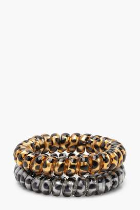 boohoo Leopard Elastic Coil Hair Bands