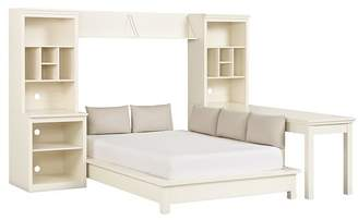 Pottery Barn Teen Stuff-Your-Stuff Platform Bed Super Set (Bed, Towers, Shelves + Desk), Queen, Simply White