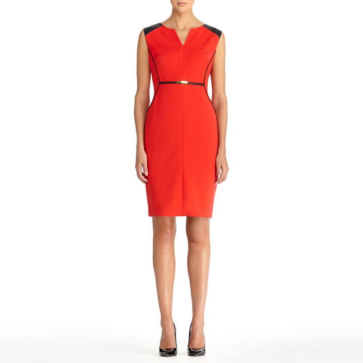 Jones New York Faux Leather Trimmed Sheath Dress (Plus)