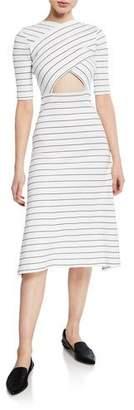 Rosetta Getty Crossover Cutout Pinstripe Short-Sleeve Midi Dress