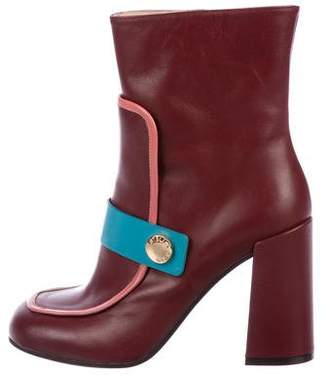 Stella Jean Leather Square-Toe Ankle Boots
