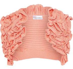 RED Valentino Ruffled Crochet-Knit Cotton Shrug