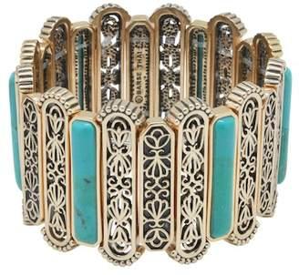 Barse Bronze Filigree & Bezel Set Turquoise Stretch Bracelet