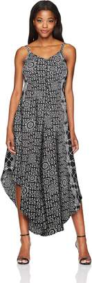 MSK Women's Challi Gaucho Printed Jumpsuit with Cageback Detail, Black/White, XL