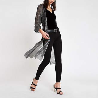 River Island Black sequin kimono duster jacket