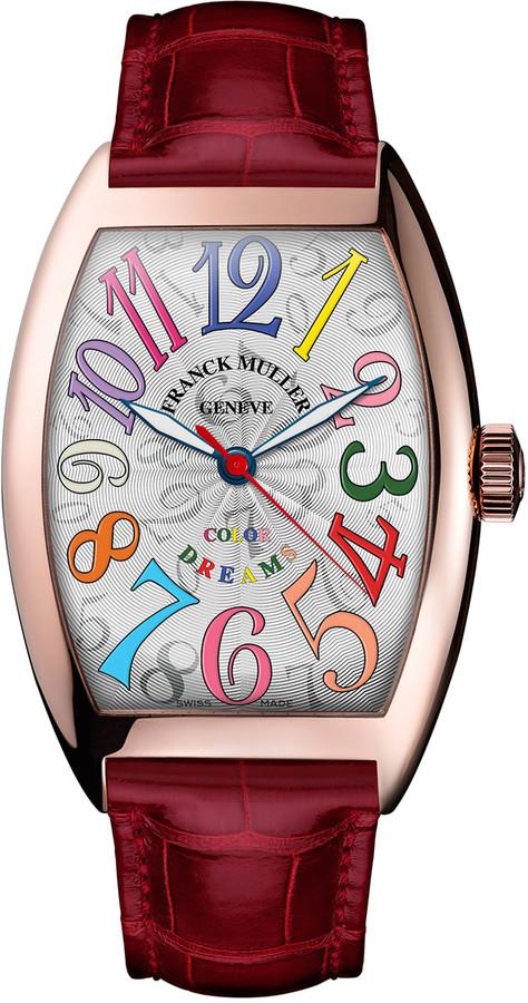 Franck Muller Cintree Curvex 18K Rose Gold Watch with Alligator Strap