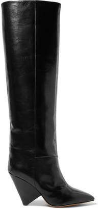 Isabel Marant Lokyo Glossed-leather Knee-high Boots - Black
