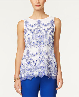 Charter Club Embroidered Mesh Top, Only at Macy's $79.50 thestylecure.com