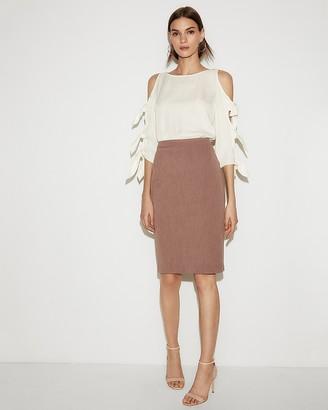 Express High Waisted Clean Front Textured Pencil Skirt