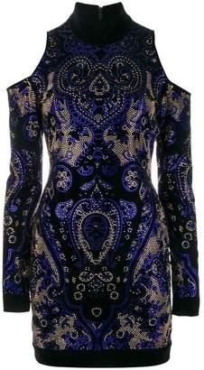 Balmain cold-shoulder mini dress