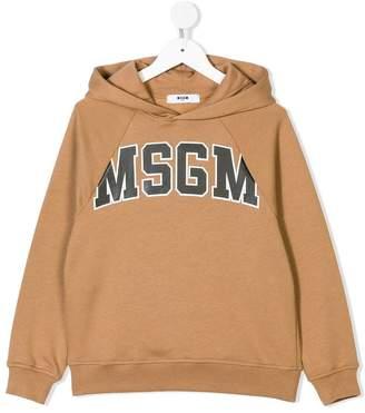 MSGM Kids logo printed hoodie
