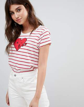 French Connection Heart Stripe T-Shirt