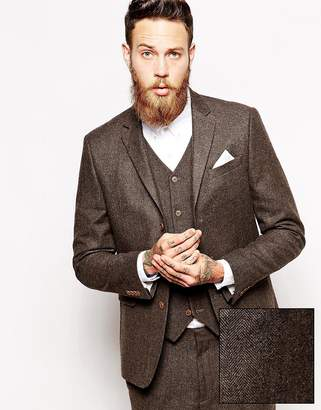 Asos Design Slim Suit Jacket In Herringbone