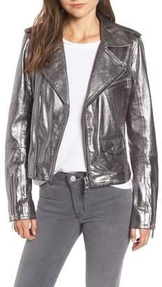 Hudson Classic Metallic Lambskin Leather Moto Jacket