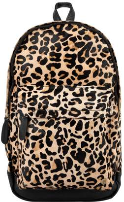MAHI Leather - Classic Cowhide Leather Backpack Rucksack In Leopard Print