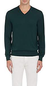 Luciano Barbera MEN'S WOOL-BLEND V-NECK SWEATER - GREEN SIZE L