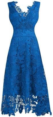 Roland Mouret KIMILILY KMILILY Women's V neck Sleeveless Floral Lace Light Blue Bridesmaid Dress(M)