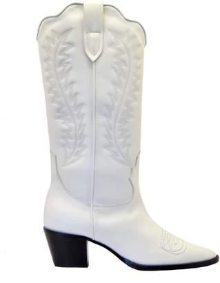 Paris Texas Stivale Texano Pelle Bianco