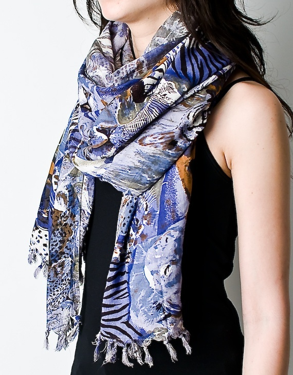 Blue Animal Print Safari Scarf/Sarong
