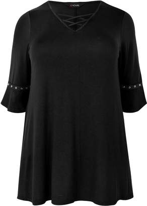 Next Womens Yours Curve Frill Sleeve Lattice Neck Tunic Top