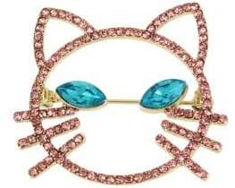 Betsey Johnson Just Kitten Pink Blue Crystal Cat Face Pin