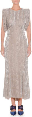 ATTICO Jewel-Neck Sleeveless Sequined Evening Gown
