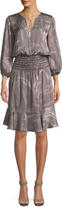Halston Printed Fit-and-Flare Smocked Dress